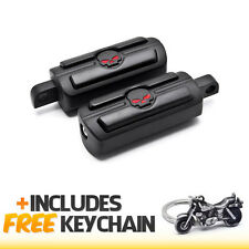 Harley Davidson Skull Head Front & Rear Foot Peg Rests Black+Cruiser Keychain