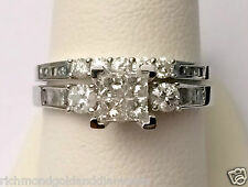 White Gold 0.90ct Princess Cut Round Diamond Engagement Bridal Set Wedding Rings