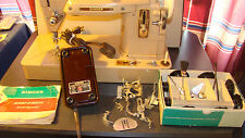 Vintage Singer 403 Sewing Machine with Foot Pedal, Cams, accessories, and Case
