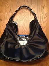 Botkier Black Nylon Satchel Bag Zip Around Handbag Patent Leather Trim (BAA1)