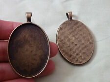 5 large bronze brass oval picture photo frame oval setting blanks pendant charm
