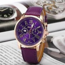 2016 Women / men's fashion leather Rome Geneva quartz watches.