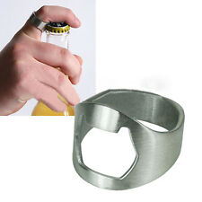 1x Useful Stainless Steel Finger Ring Beer Bottle Opener for Bar Tool Silver AHY