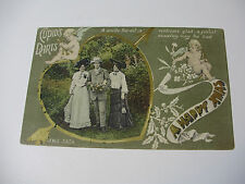 Lot180v - CUPID'S DARTS Man With 2 Ladies HAPPY CHRISTMAS POSTCARD