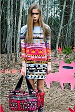 Womens QOOQOO Tribe Blue Mini Stretch Dress S Small Tribal Dog Bone Orange Pink