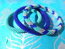 Turquoise, Peach and Cobalt Blue Handmade Beaded Bracelets Set,Seed Beads,Nepal,