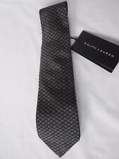 NEW Mens Ralph Lauren Handmade In Italy Woven Black & Grey Silk Tie RRP £115