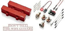 EMG J SET RED ACTIVE SOLDERLESS JAZZ BASS GUITAR PICKUPS WITH POTS & WIRING