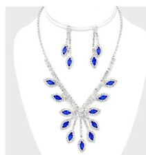 Rhinestone Silver Crystal Royal Blue Formal Pageant Necklace Jewelry Set Earring