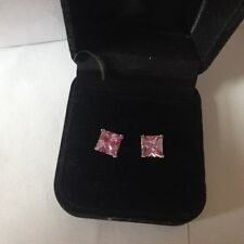 STUNNING STERLING SILVER 7mmR/P PINK CZ SQ STUD EARINGS