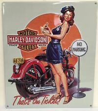 Ande Rooney HARLEY DAVIDSON TICKET BABE Police Girl Tin Motorcycle Garage Sign
