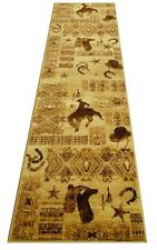 Rustic Lodge Log Cabin Cowboy Hat Horse Shoes Boots 3 X 8 Runner Rug Carpet New