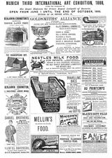 Victorian Adverts; Thurston's Billiards, Nestle, Cots, Pipes -Antique Print 1887