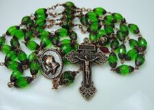 "Antique Copper Emerald Green Faceted Crystal Praying Hands 32""Rosary & free Gift"