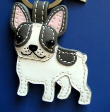 NWOT Coach Leather French Bulldog Key Chain Fob Ring 61909 SV/White, Grey, Pink