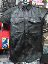MENS BLACK LEATHER SHORT SLEEVE SHIRT(S) REDUCED PRICE SALE