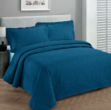 King Size 3 pc Solid  Embossed bedspread Bed Cover New Over size  Blue