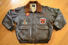 Vintage AVIREX Type G-1 TOP GUN Dark Bown Leather Flight BOMBER Jacket Size 2XL