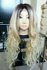 "Human Hair Blend Wig Lace Front Ombré Blonde, Real Hair, Dark Roots 26"" Long"