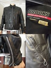 VINTAGE Brooks leather jacket Detroit Motorcycle Large BLACK CAFE RACER talon L
