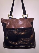 Women's The Sak Leather Large Shoulder Handbag Purse Shiny Brown Rustic