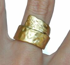 Yellow Gold 24K Plated Hammered Effect Scroll Band Ring Sz 6.5 Israel Artisan