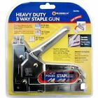 HEAVY DUTY 3 WAY STAPLE NAIL GUN STAPLER UPHOLSTERY WOOD WITH 200 STAPLES NEW