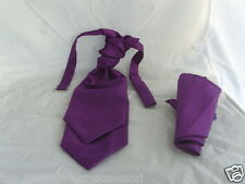GG Cadbury NEW- Purple BOYS Polyester Scrunchie Ruche Tie-Cravat and Hankie Set