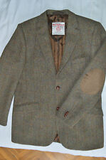 "HARRIS TWEED MENS HERRINGBONE JACKET BLAZER COUNTRY SIZE 44""L ELBOW PATCHES"