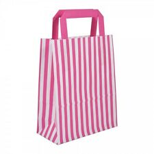 20 x Pink Candy Stripe Paper Carrier Bags With Flat Handles- 18cm x 22cm x 8cm