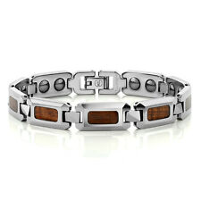 Men's NEW Shiny Tungsten Carbide Bracelet w/ WOOD  Inlay OUR NEWEST STYLE