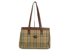 Auth Burberrys Nova Check Plaid Pattern Canvas Tote Shoulder Bag 12516e