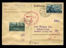 LIECHTENSTEIN 1941 to LUXEMBURG CENSORED POSTCARD...GROM...LUZERN