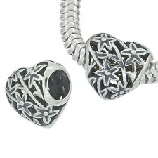 Antique Sterling Silver Filigree Heart European Charm Bead 11mm 1PC #97209