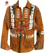 MEN'S WESTERN SUEDE LEATHER JACKET WITH FRINGE AND EAGLE BEADS