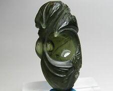 Extraordinary  Unique Moldavite Carving!!! W/ Aesthetic Bubble!!! Czech Republic