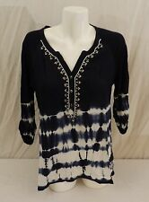Bandolino Black Womens Embellished Tie Dye Top Blouse Shirt 3/4 Sleeve Size L