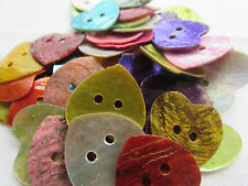 Mother of Pearl Heart Buttons 2cm Assorted Colours Pack of 10