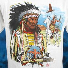 NOS vintage 80s NATIVE AMERICAN HORSE T-Shirt SMALL/MEDIUM cowboy indian thin