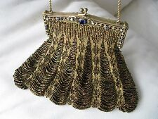 Antique Pearl Blue Cobalt Blue Jeweled Frame Peacock Iridescent Brown Bead Purse