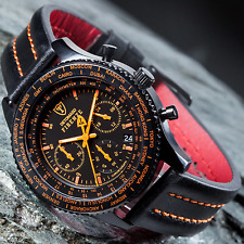 DETOMASO Firenze Chronograph Mens Watch Black Stainless Steel Orange New