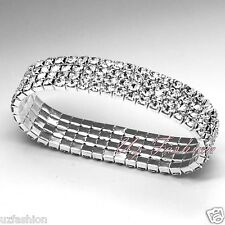 4 ROW AUSTRAIN RHINESTONES DIAMANTE STRETCH ANKLET
