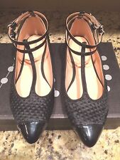 NWT MARAIS USA BLACK T STRAP FLAT  QUILTED PONY & LEATHER SHOES 9 M