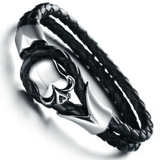 Mens Unisex Stainless Steel Black Genuine Leather Skull Gothic Bracelet G85