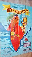 LES INDES FABULEUSES ! claude renoir  rare  affiche cinema 1954