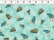 Fat Quarter Embracing Horses Birds Aqua Cotton Quilting Fabric - Laurel Burch