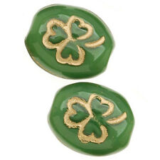 Czech Glass Oval Beads St Patrick's Shamrock Green/Gold