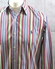 Ralph Lauren custom fit multi coloured men's stripes pink blue cotton shirt 15/M