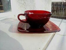 Ruby Red Charm Cup and Saucer Set