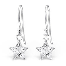 Quality 925 Sterling Silver Dangly Earrings-Clear CZ Star Drop Hooks-8mm-Boxed